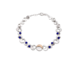 Sterling Silver Bracelet with Irish Gold Half Moon and Lapis Stones.
